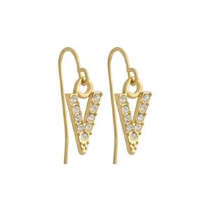 """Picture of Gold Crystal """"V"""" Earrings"""